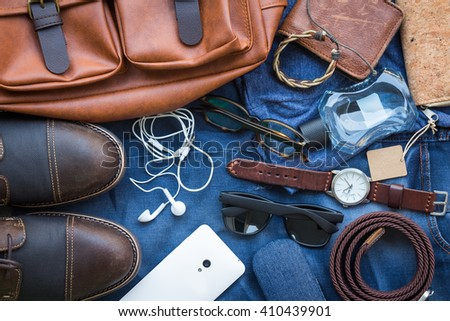 Men's casual outfits with accessories background - stock photo