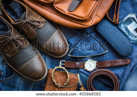 Men's casual outfits with accessories on background - stock photo