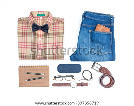 Men's casual outfits with man clothing and accessories on white background - stock photo