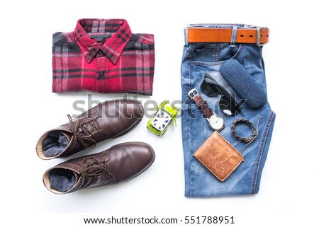Men's casual outfits with red plaid shirt, blue jeans, man clothing and accessories travel items on white background