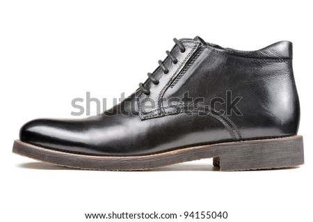 Men's Classic Black Leather Shoe Isolated on White Background - stock photo