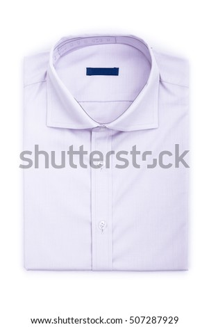 Men's classic pink folded cotton shirt with long or short sleeve and blue blank label isolated on white background.