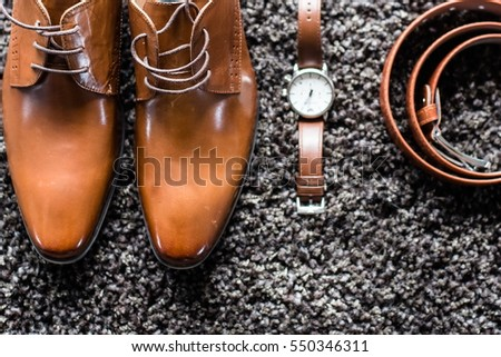 Men's Classic Shoes, Belt and Watch