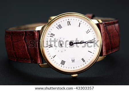 Men's classic watch with a white black background