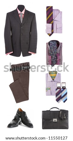 Men's clothes  and accessories on a white background - stock photo
