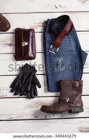 Men's clothing. Shop of stylish wear. - stock photo