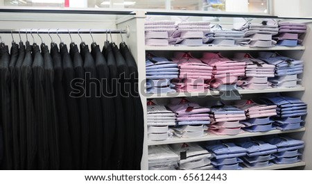Men`s clothing store. - stock photo