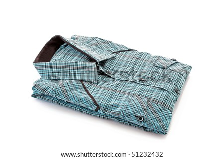 Men's  color shirt isolated on a white - stock photo