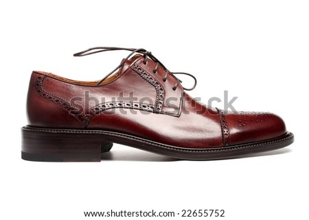 Men's elegant leather shoe, side view - stock photo