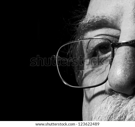 men's eye and eye glass - stock photo