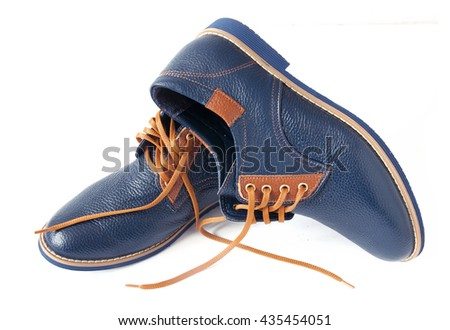 Men's fashion blue shoes, casual design isolated on a white background  - stock photo