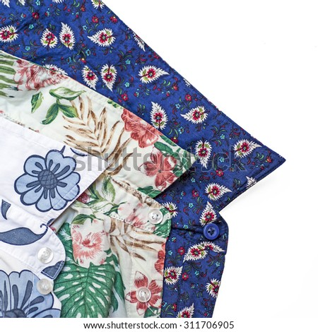 Men's floral print shirts - stock photo