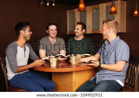 Men's Group Bible Study - stock photo