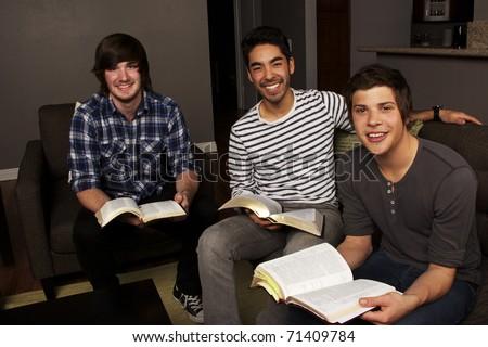 Men's Group Bible Study - stock photo