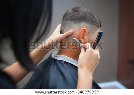 Men's haircut at the barber
