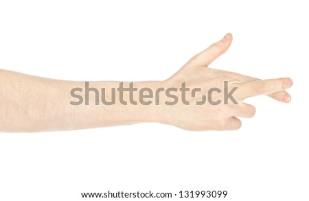 Men's hand crossing fingers on a white isolated background - stock photo