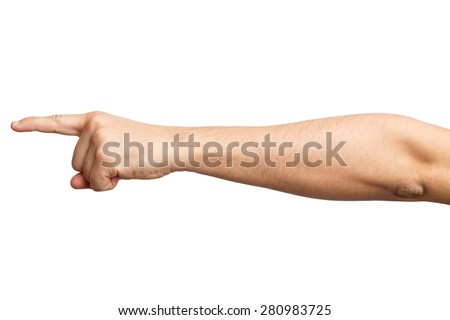 Men's hand on a white background . Alpha . One finger . Forefinger. 1 Indicates your product - stock photo