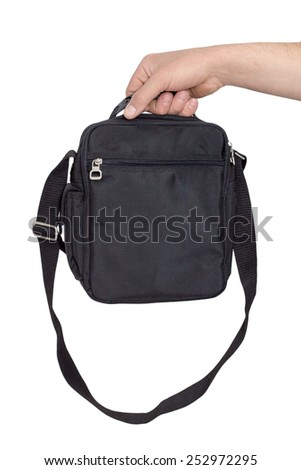 men's hand with a black bag isolated on white background