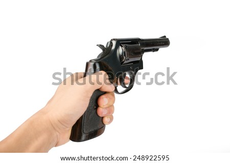 Men's hand with a Black revolver gun isolated on white background. - stock photo