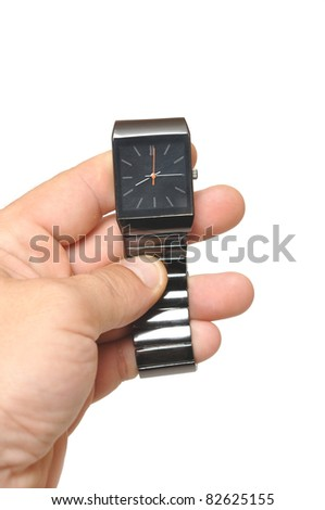 men's hand with a watch on white - stock photo