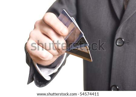 men's hand with credit card - stock photo