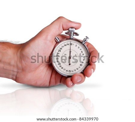 Men's hand with sport timer on the surface with reflection in it - stock photo