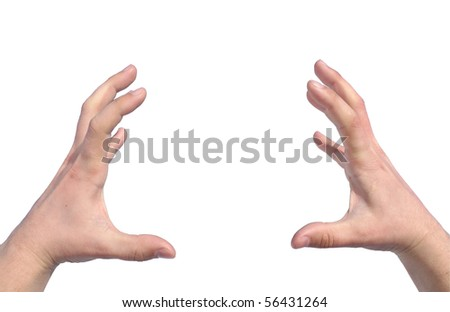 Men's hands trying to grab or hold something isolated - stock photo