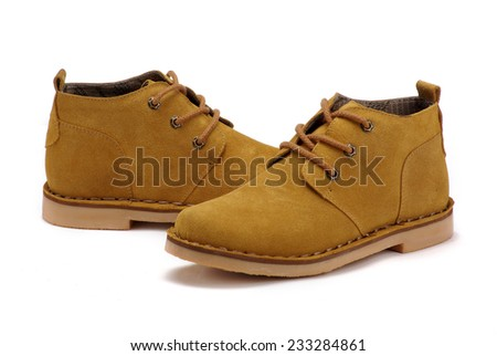 Men's high-top leather shoes on a white background