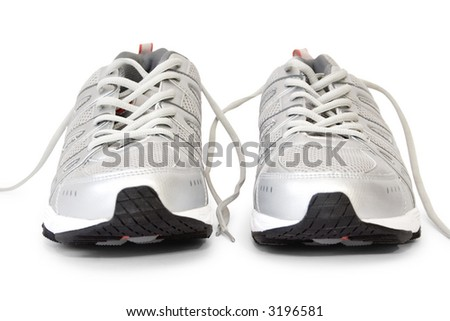 men's jogging shoes isolated on white - stock photo