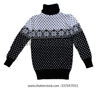 Men's knitted sweater. Isolate on white background. - stock photo