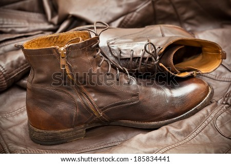Men's leather fashion shoes. Autumn - spring shoes.