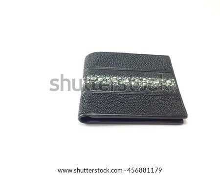 men's leather wallet isolated on white background - stock photo