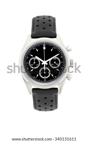 Men's mechanical watch isolated on white background - stock photo