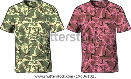 Men's Military Shirts front view template. Raster version - stock photo
