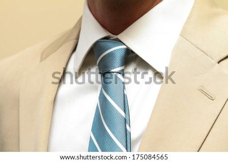 Men's necktie and suit up close - stock photo