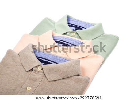 Men's Pastel Colored Polo Shirts Isolated on White - stock photo