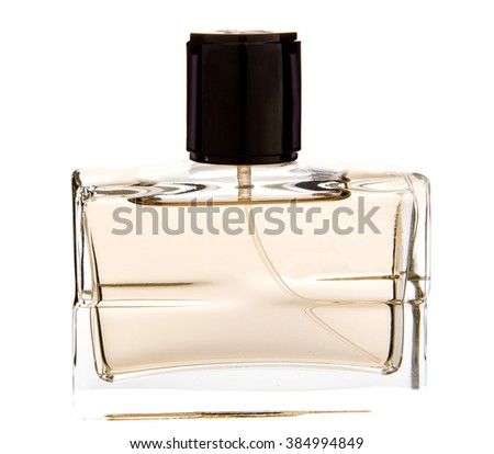 men's perfume in beautiful bottle isolated on white - stock photo