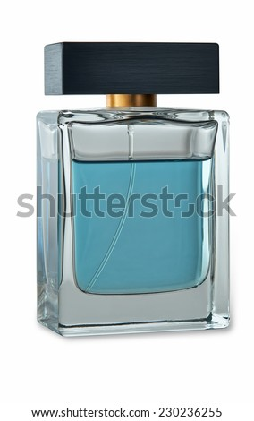 Men's perfume in beautiful bottle with light shadow. Image is isolated on white  - stock photo