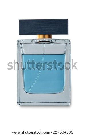 Men's perfume in beautiful bottle with light shadow. Image is isolated on white and the file includes a clipping path. - stock photo