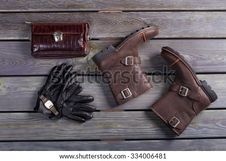 Men's shoes and leather accessories. Beautiful still-life of things. - stock photo
