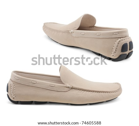 Men's shoes on a white background. - stock photo