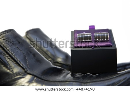 Men's shoes with cuff links - stock photo