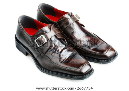 Men's shoes with faux crocodile leather effect - stock photo
