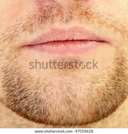 Men's short beard and lips close up