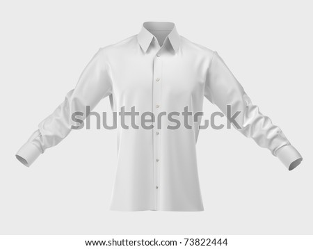 Men's silk shirt isolated on white. Cut Out. Clothing collection - stock photo