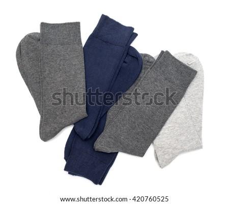men's socks on a white background - stock photo