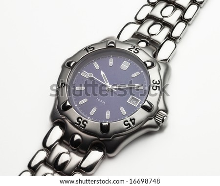 Men's stainless steel and cobalt blue dress wristwatch - stock photo