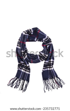 men's striped scarf on a white background - stock photo