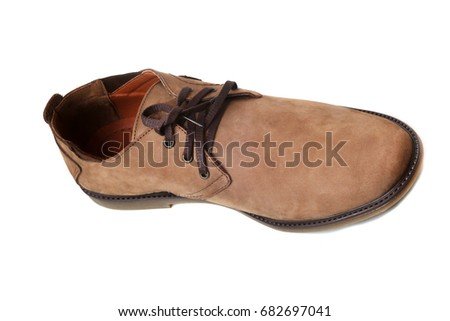 Men's suede shoes on white background