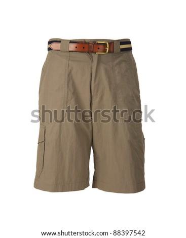 Men's summer shorts isolated on white background - stock photo